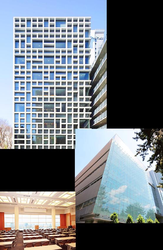 大内山校舎、外濠校舎、スカイホール(多目的ホール)の写真